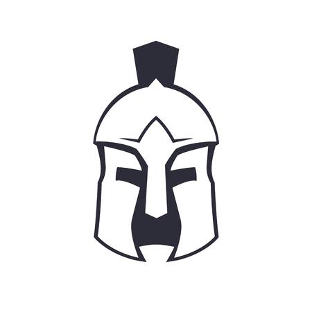 Spartan, greek helmet over white
