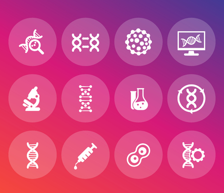 genetics icons set, dna chains, genetic modification and research Illustration