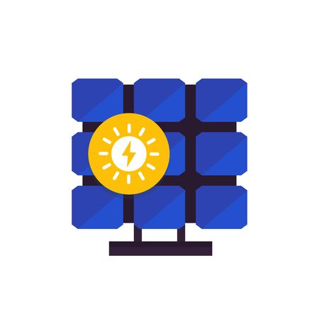 solar panel, icon in flat style