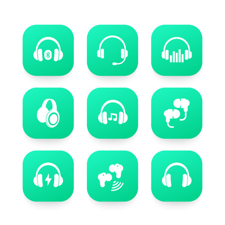 headphones, wireless earbuds, headsets icons