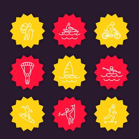extreme outdoor activities icons, linear style
