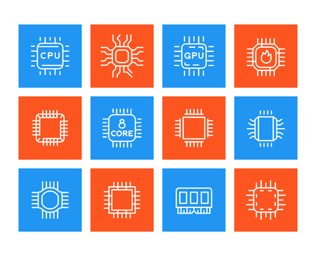 Chipset, microchip, cpu line icons set Illustration
