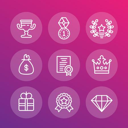 Rewards and prizes line icons set
