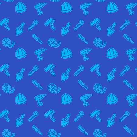 seamless pattern with construction tools icons, blue background