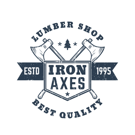 logging: lumber shop vintage , emblem, badge with lumberjacks axes Illustration
