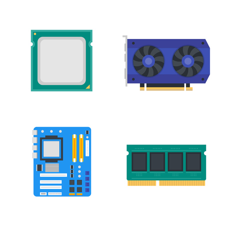 ddr: computer components icons, motherboard, memory, video card, CPU, vector illustration