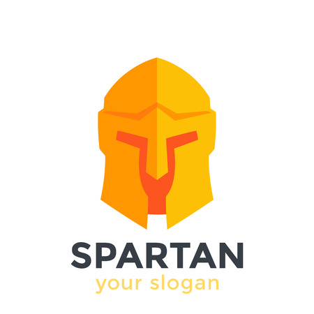 Spartan helmet, vector logo element in flat style