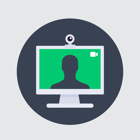 Video call icon, web camera and desktop