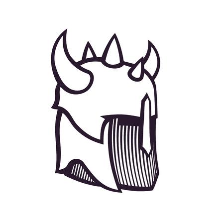 warrior helmet with horns, outline isolated on white Illustration