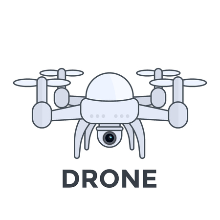 Drone with camera vector illustration with outline Иллюстрация