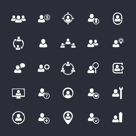 Human resources icons, HR, staff, customers 向量圖像