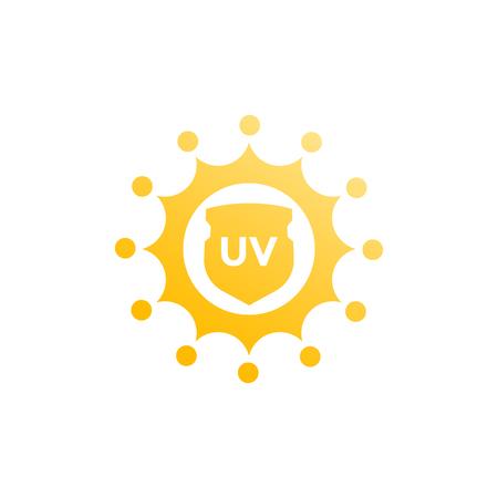 sun block: UV protection, sun and shield icon
