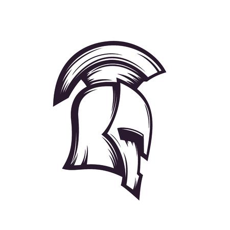 spartan helmet vector logo Illustration