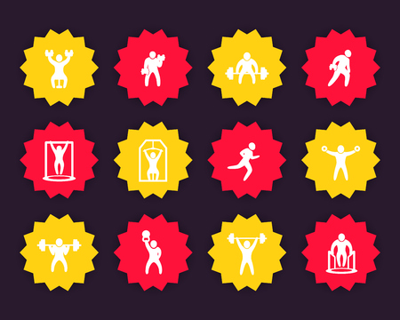 Gym, fitness exercises icons