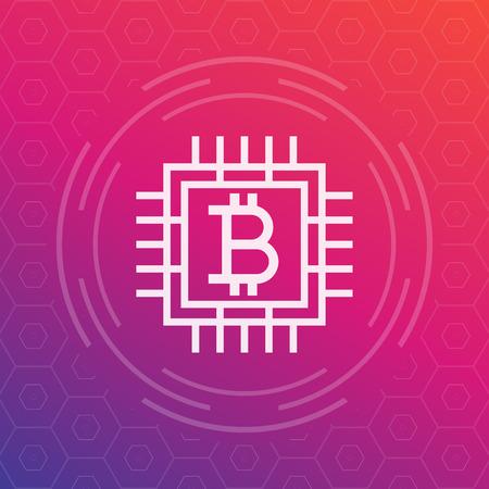 bitcoin vector icon, linear style