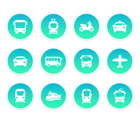 Passenger transport icons, bus, subway, train, taxi, car, airplane, and ship Illustration