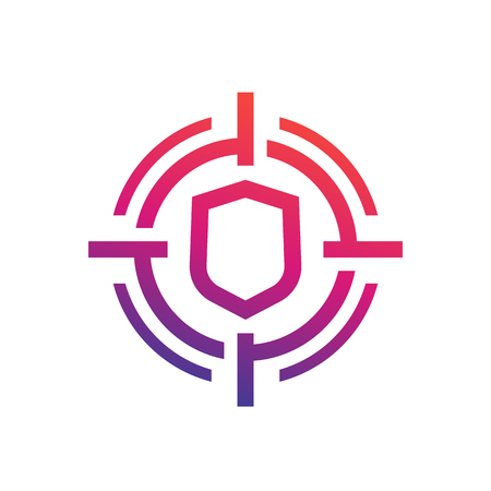 security breach icon, linear style