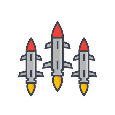 Ballistic missiles on white Ilustração