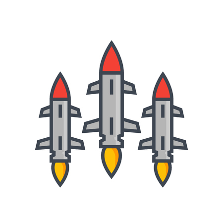 Ballistic missiles on white Illustration