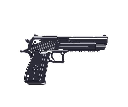 potente pistola, pistola su bianco