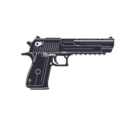 powerful pistol, handgun on white Çizim