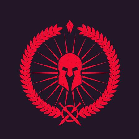 with spartan helmet, grunge red emblem