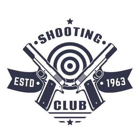 Schietend clubembleem, vintage embleem, kenteken met twee pistolen en doel over wit
