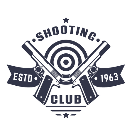Shooting club logo, vintage emblem, badge with two pistols and target over white Çizim