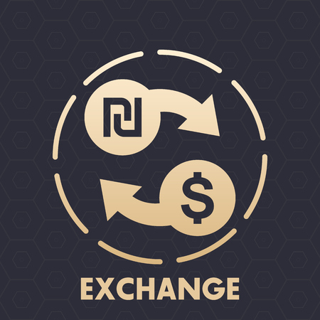 shekel to dollar exchange vector icon