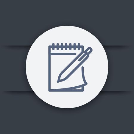notebook and pen line icon, vector symbol Vettoriali