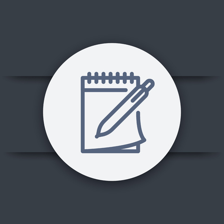 notebook and pen line icon, vector symbol Stock Illustratie