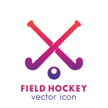 Field hockey icon, logo element over white