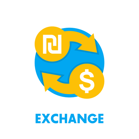 shekel to dollar exchange icon on white