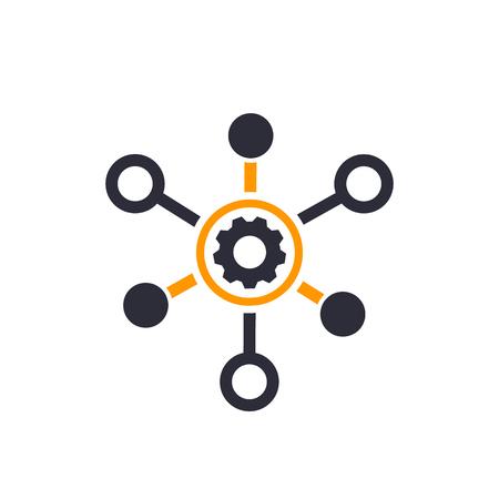 productie pictogram geïsoleerd op wit Stock Illustratie