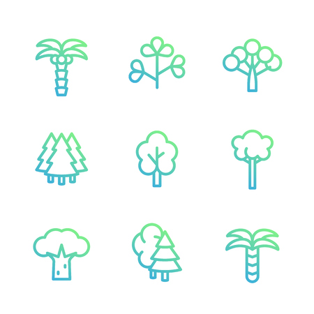 Trees linear icons Illustration