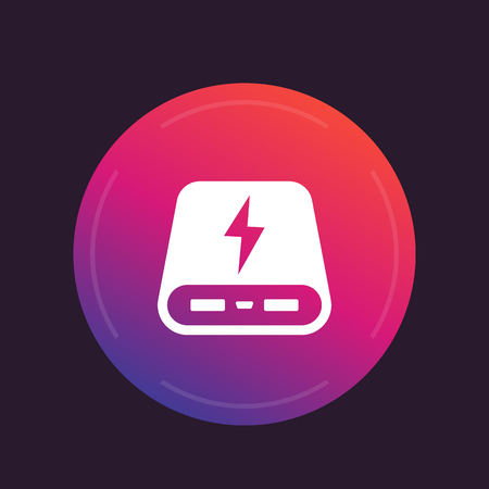 power bank icon, portable charger round pictogram Illustration