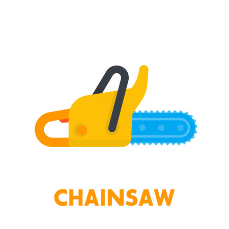 Chainsaw icon, flat style Illustration