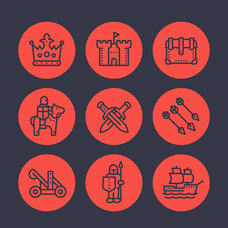 medieval war line icons set, knight, spearman, arrows, crown, castle, ship, catapult, siege Illustration