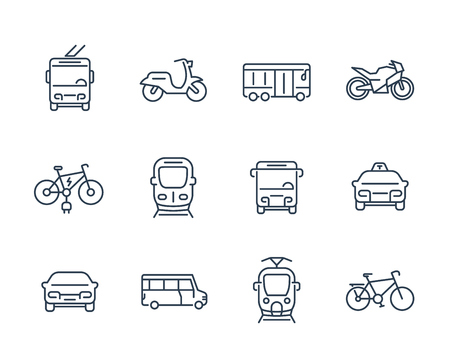 City transport icons, transit van, cab, bus, taxi, train, bikes, linear style 向量圖像