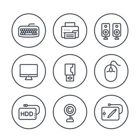 Línea de periféricos de ordenador iconos en blanco