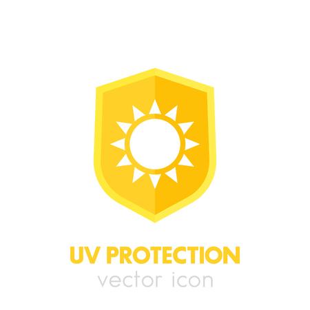 sun cream: UV protection icon on white