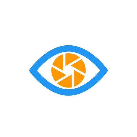 eye with aperture symbol, vector icon on white