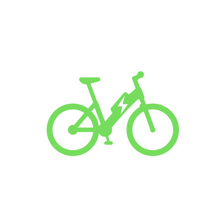 Electric bicycle icon, e-bike isolated on white