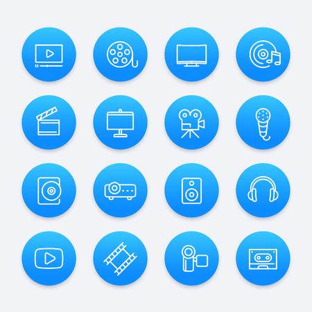 video, audio, multimedia icons Illustration