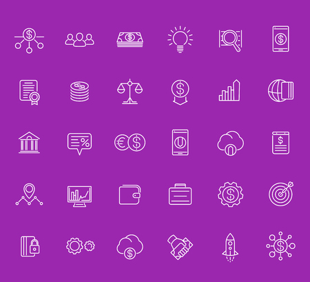 Venture capital, investments, start-up, forex, hedge fund, financing icons set, linear style