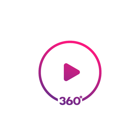 360 degrees video icon Çizim