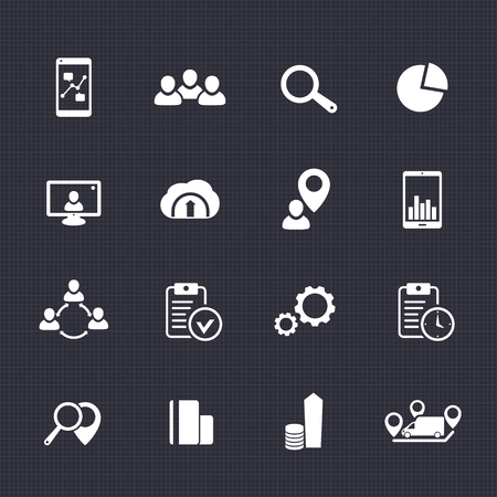 16 business icons set, reports, statistics, indices pictograms on dark