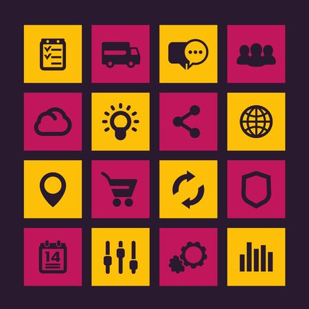 Web icons set, e-commerce, shopping, business and analytics, vector illustration