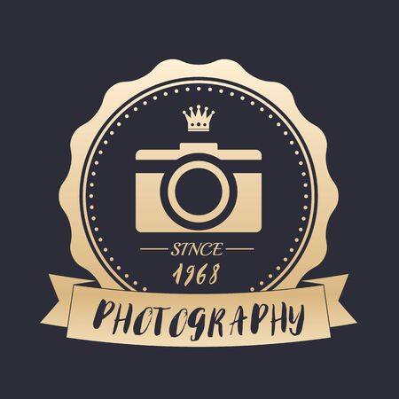 Photography vintage logo with retro camera, vector gold emblem