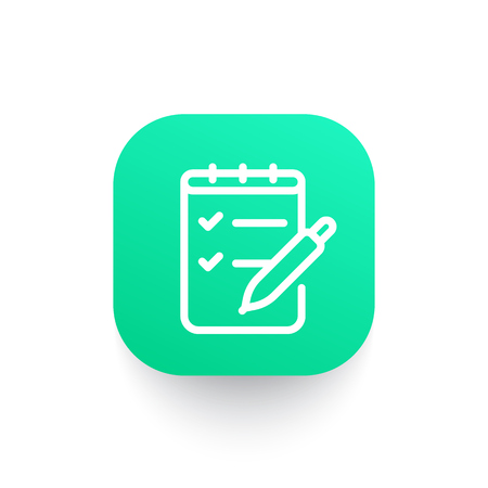 Survey icon in linear style, checklist and pen